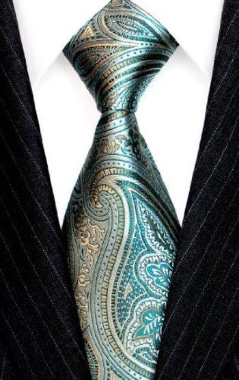 Lorenzo Cana - Italian 100% Silk Tie Turquoise Lightgreen Green Paisley Silver Jacquard Woven Necktie