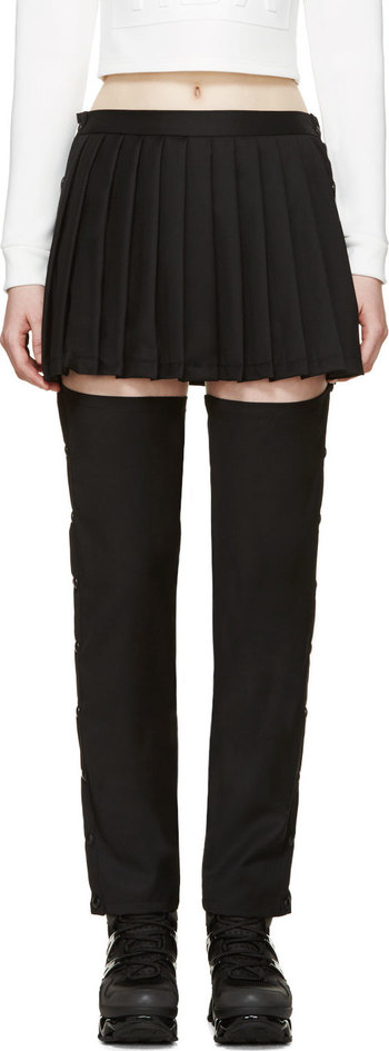 Hood by Air - Black Suiting Pleated Skirt