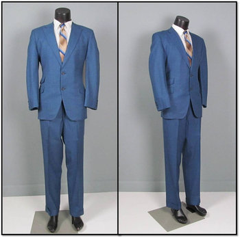 Vintage Mens Suit 1960s MOD Two Piece Blue and Black Plaid Wool Suit 42 44 Mens Vintage Suit