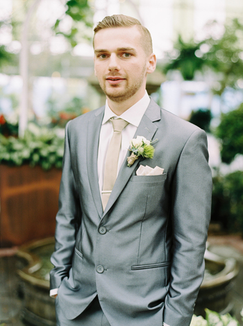 Silver Groom's Suit with Champagne Tie