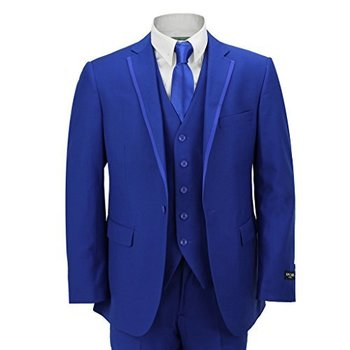 Mens 3 Piece Royal Blue Formal Casual Fitted Suit Trim Lapel Wedding Prom Party - Royal Hub