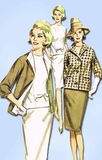 1960s Vintage Butterick Sewing Pattern 2973 Uncut Misses Mid Mod Suit Sz 16 36 B
