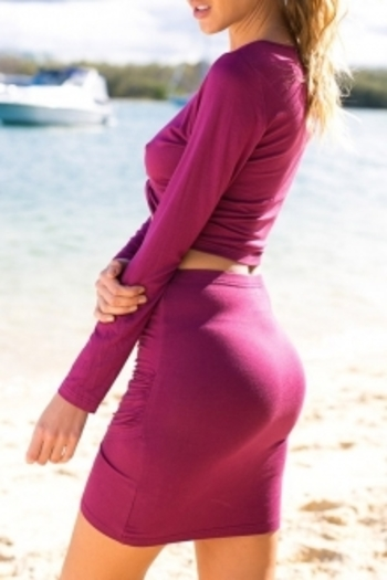 Long Sleeve Ruched Purple Crop Top and Skirt Suit