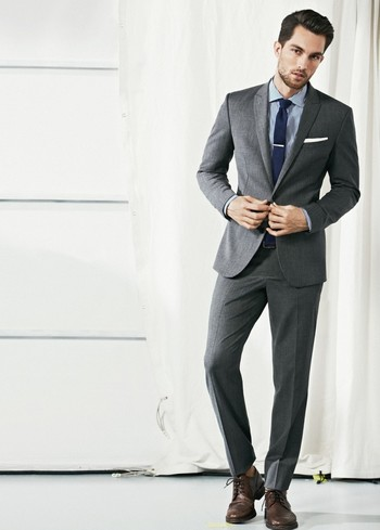Business suited, grey, stripes, blue, men's style
