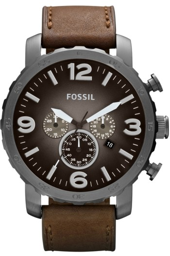 FOSSIL Nate Chronograph Leather Watch - Brown JR1424 < $133.95 > Fossil Watch Men