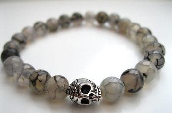 Men's White Dragon Vein & Skull Bracelet