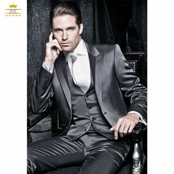 Aliexpress.com : Buy Dark Gray Mens Tuxedos Custom Made Wedding Suits With Pants Slim Fit 2015 Peak Lapel Two Buttons Jacket + Pants+Tie +Vest  XL602 from Reliable suit cheap suppliers on Gorgeous_Bridal  | Alibaba Group