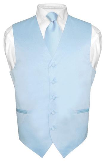 Men's BABY BLUE Tie Dress Vest and NeckTie Set for Suit or Tuxedo