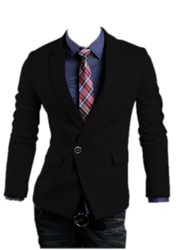 QualityUC Mens Clothing Menswear American Clothes Fashion Single Button Suit Jacket